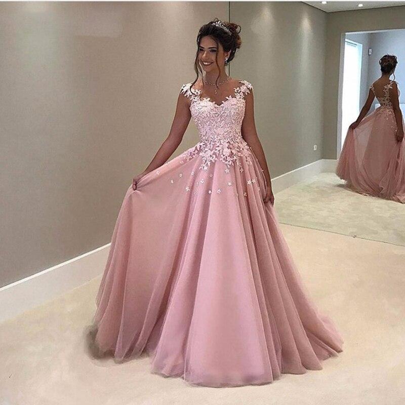 Robes De soirée rose 2019 a-ligne Tulle dentelle Abiye Gece Elbisesi Appliques dentelle longue Robe De soirée De bal Robe De soirée en argent