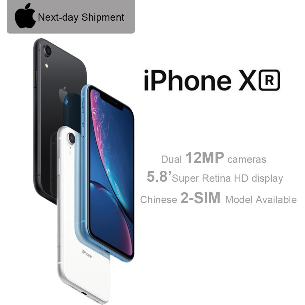 New Apple iPhone XR Specially-Unlocked 6.1 Liquid Retina All Screen 4G LTE FaceID 12MP Camera IP67 Waterproof for Outdoor