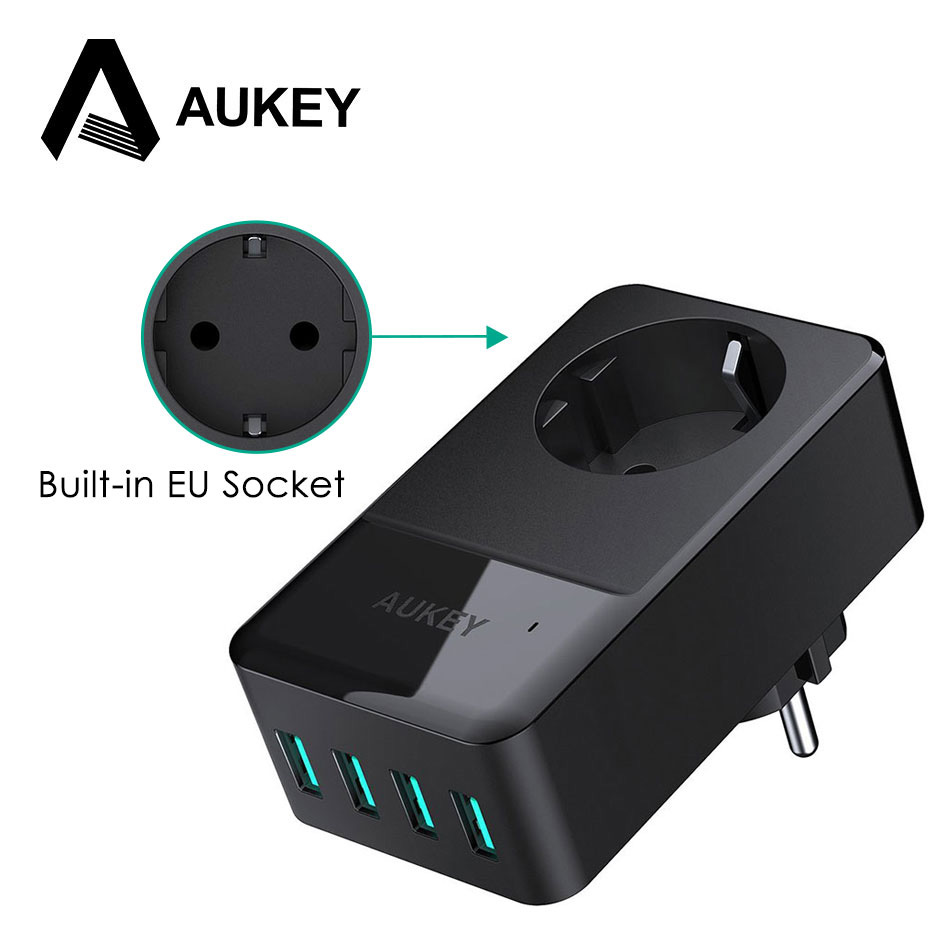 AUKEY 4-Port USB Charger With Built-in Socket Travel Mobile Phone Charger USB Universal Wall Charger EU Plug Charger for Phone