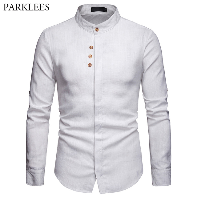 ea4db2b2d Mens White Linen Shirt Casual Mandarin Collar Long Sleeve Male Fly Front Dress  Shirts Work Slim Fit Button Top Chemise Homme XXL