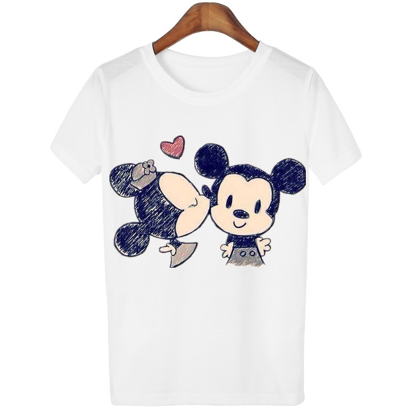 Summer New Women's T-shirt Cute Cartoon Character Printing T-shirt Fashion Simple Short-sleeved White Shirt Gothic Modis Tumblr