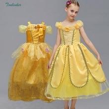 Little Girls Princess Belle Costume Puff Sleeve Dress Summer Girl Flower Tulle Dress Belted Dress Up Party Dresses Vestidos eyes print belted dress