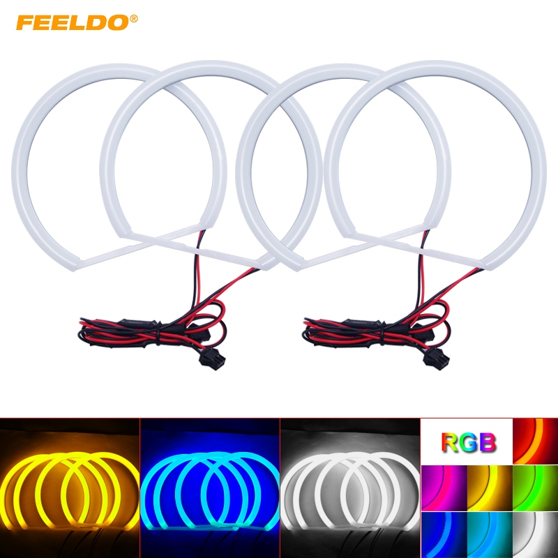 FEELDO 4X131mmCar Xenon Cotton Angel Eyes Halo Ring Light DRL For Lada VAZ <font><b>2106</b></font> Headlight #HQ1106 image