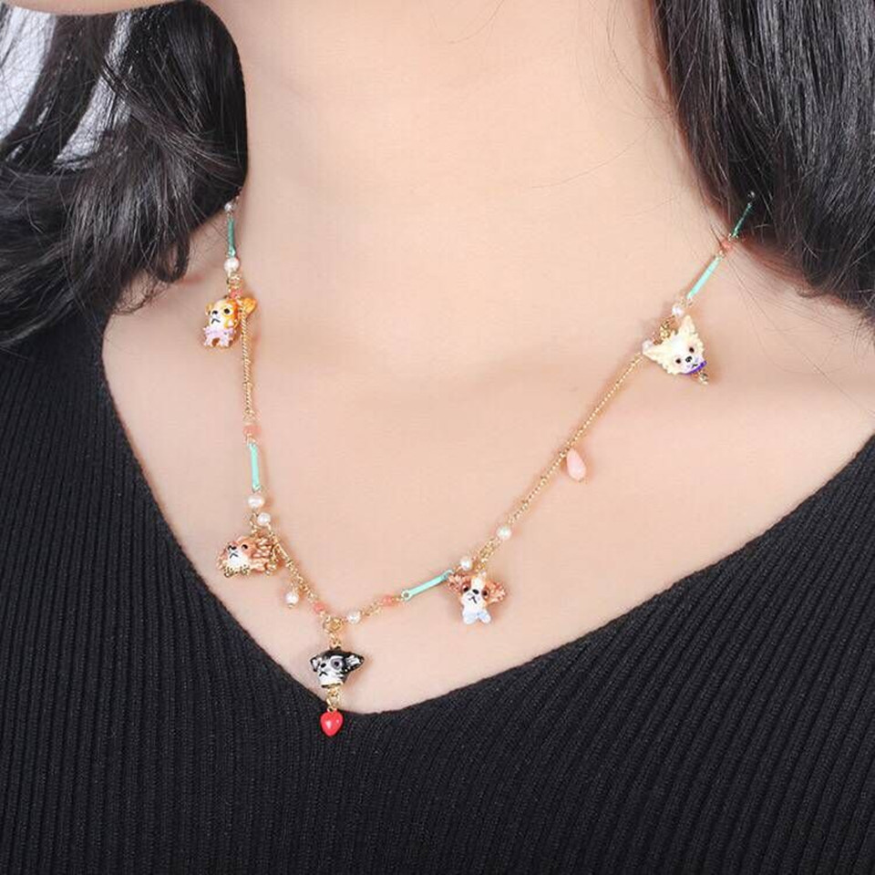 2018 Designer Amybaby Chihuahua Family On Flower Branch and Faceted Glass Necklace Jewelry For party