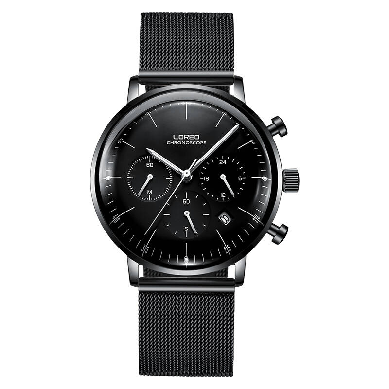 LOREO 6112 Germany Bauhaus watches Calendar Chronograph black stainless steel sapphire high quality multifunction watch loreo 6112 germany bauhaus watches newest 316l stainless steel chronograph fashion elegant quartz watch