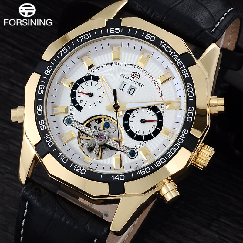 FORSINING Luxury Brand Men Automatic Mechanical Watch Men's Black Leather Band Canlendar Tourbillon Skeleton Wrist Watches forsining brand trendy automatic mechanical watches men skeleton dial stylish dress wristwatches with leather band