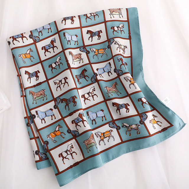 KOI LEAPING woman fashion horse pattern printing 70x70cm small square scarf Silk scarf scarves headscarf hot sale gift