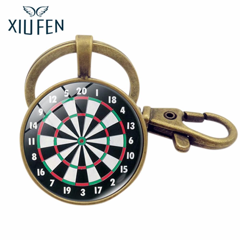 XIUFEN Women/Men Portable Darts Target Design Retro Metal Key Ring Pendant Key Chain