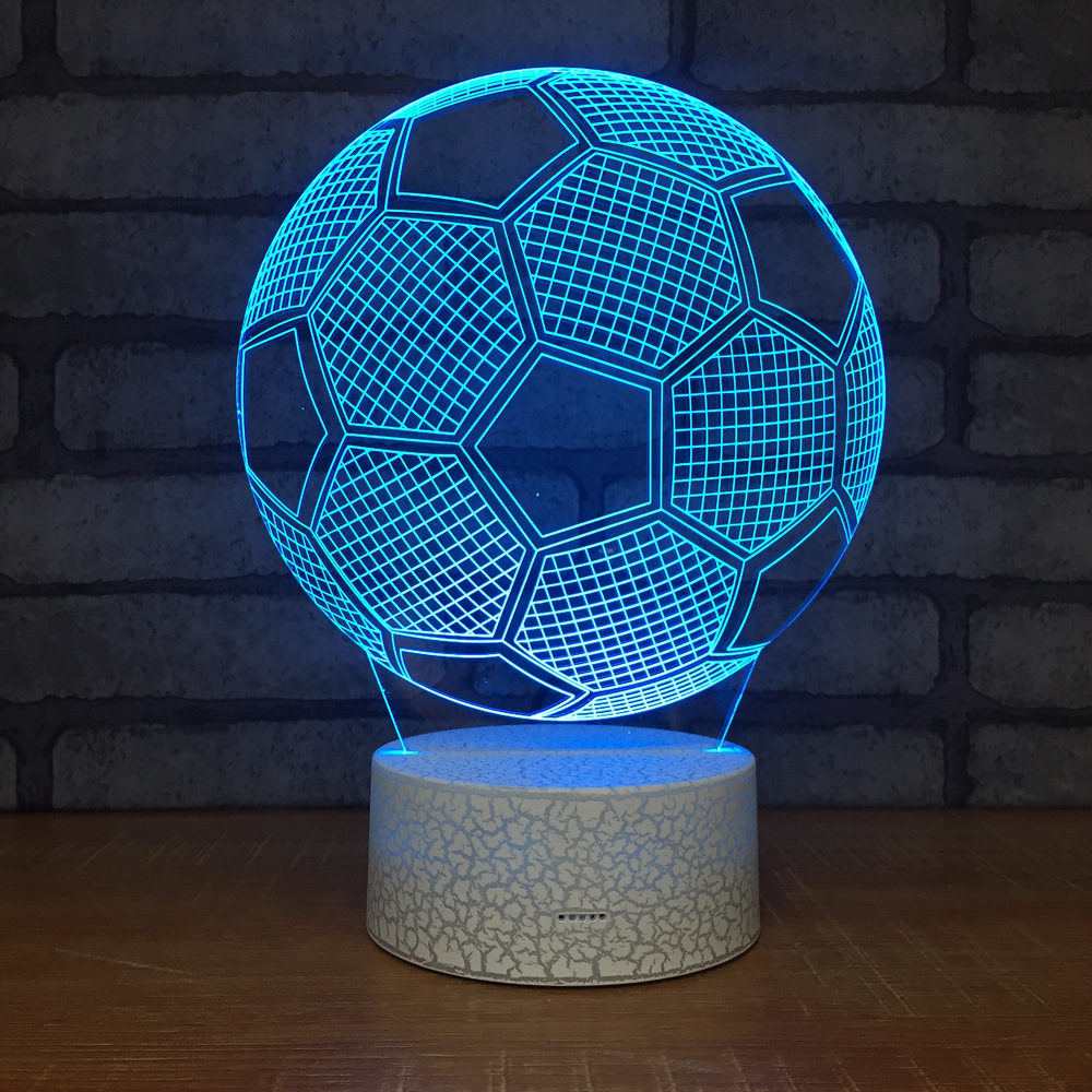 3D Wireless Football Soccer Match LED Night Light RGB USB Touch Remote Control Birthday Lamp 7 Color Bedroom Gift Decor Light