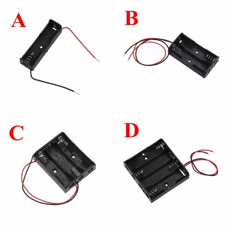 黒プラスチック単三サイズ電源バッテリー収納ケースボックスホルダーリード 1 2 3 4 スロットaaサイズ電源バッテリー収納ケースボックス 2.26