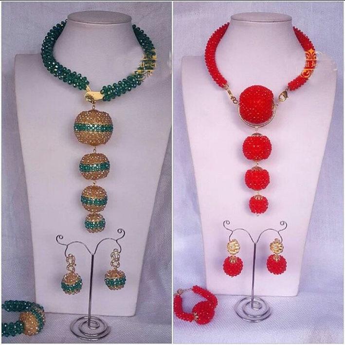 2017 Classic Teal Green Gold Wedding Statement Necklace Set African Nigerian Beads Bridal Jewelry Set Wmoen Innrech Market.com