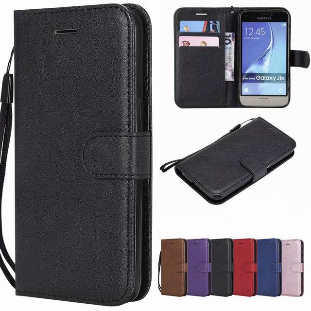 Abdeckung Fall Für Samsung Galaxy J1 2016 Fall Leder Flip-Cover J2 Core Coque Vintage Plain Brieftasche Buch Für Samsung j120 Fundas