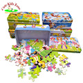 Cute Cartoon Puzzle Toy Iron Box Colorful Wooden Puzzles for Children Kids Toddler Early Educational Jigsaw Toys Child Gift