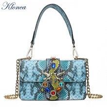 Klonca freeshipping panelled female handbag new designer snakeskin flap bag high quality PU leather hasp crossbody 2019 hot