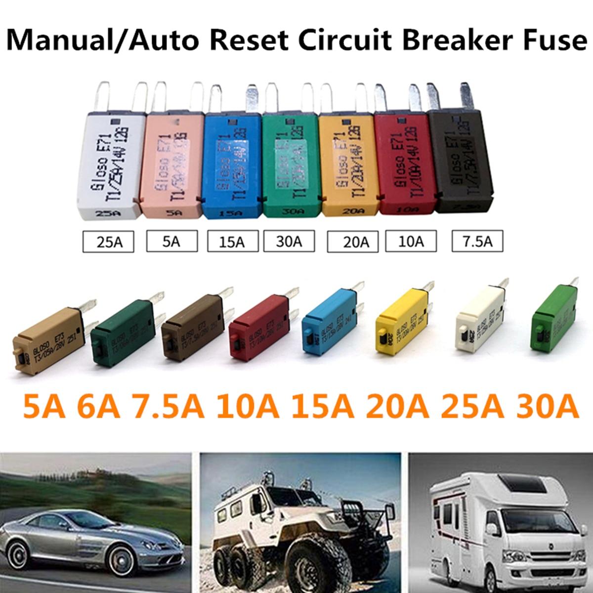 7 ATM Mini Blade Fuse Manual Reset Breaker Car Truck Corrosion Resistance