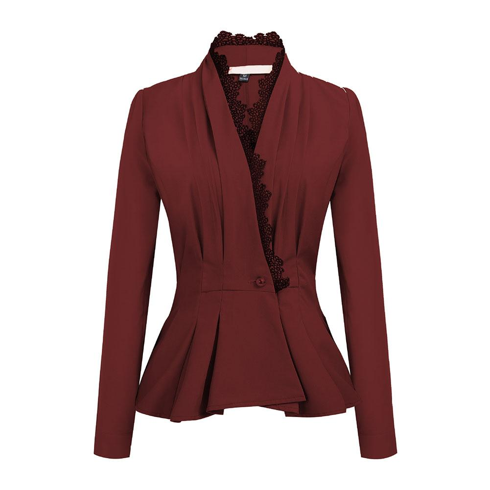 Women Lace Trim One Button Long Sleeve Slim Peplum Business Blazer Jacket Coats Retro Suits Coat Outerwear High Quality