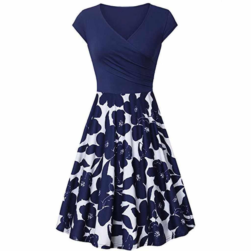 98937424ccc4a JAYCOSIN 2019 new retro V-neck floral pattern long wrap dress dress cherry  dress bow tie cross design short sleeve retro vestido