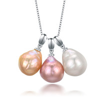 11 12mm include 3pcs big large mixed color Baroque Pearl Pendant Necklace Real Natural Freshwater Pearl Pendant Necklace
