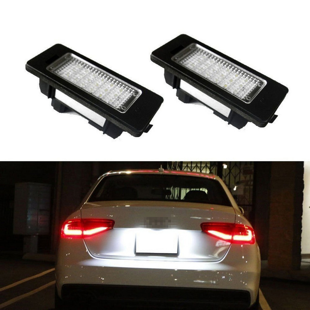 2 White Error Free 24 LED License Plate Light Lamp For PASSAT B8 Led for Audi A4 B8 Led license A5 S5 TT Q5 PASSAT R36 8T0943021