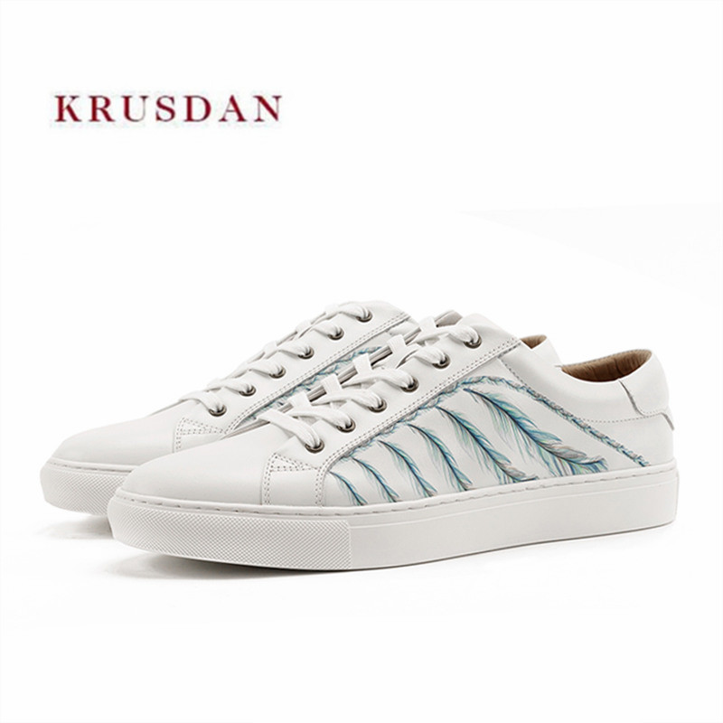 KRUSDAN Brand Walking Men Shoes White Genuine Leather Casual Sneakers Lace Up Sports Slipper Handmade Vulcanized Shoes Men Flats 2018 genuine leather men s vulcanized shoes black white mans footwear flats sneakers casual shoes sapato masculino