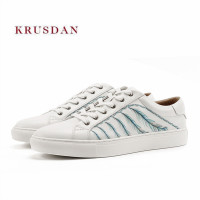 KRUSDAN Brand Walking Men Shoes White Genuine Leather Casual Sneakers Lace Up Sports Slipper Handmade Vulcanized Shoes Men Flats