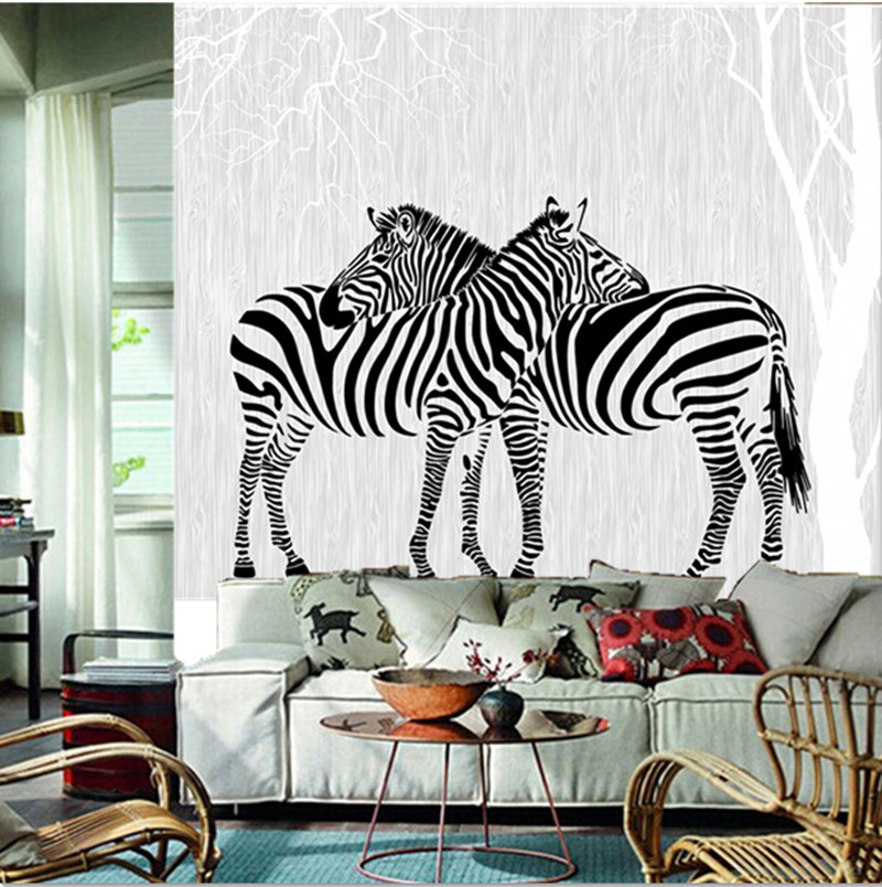 Custom 3D murals,modern minimalist mural,two zebras in the abstract woods papel de pared ...