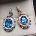 8*10mm fine jewelry 925 sterling silver pingente de topázio naturais