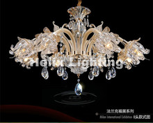 Newly Modern European Candle Clear Crystal Chandeliers Ceiling Living Room Modern E14 Golden Crystal Chandelier 100% Guaranteed