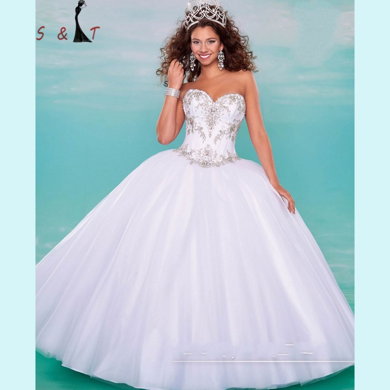 White Sweetheart Embroidery Beading Quinceanera Dresses 2016 Hot ...