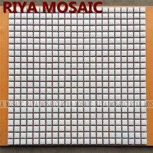 Free Shipping RIYA white 12mm ceramic mosaic small grain background wall bathroom kitchen pool swimming 11pcs/lot