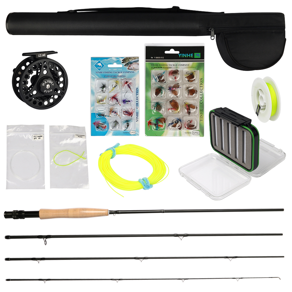 Maxway 3/4 5/6 7/8 Fly Fishing Set Kit Fishing Rod and Reel Rod Combo with Flies Fly Fishing Line Set Tying Materials crony st8003 3 gc pro stream series rod weight 79g 8 0 3 3pieces fly rod 6 15g fishing rod