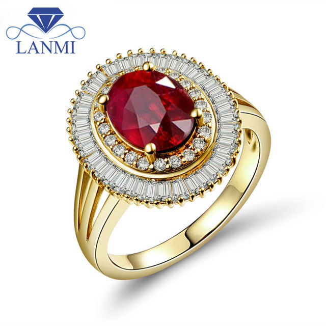 LANMI 14K Solid Yellow Gold Ruby Stone Rings Vintage Natural Diamond  Wedding&Engagement Ring Genuine Ruby Jewelry For Women