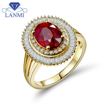LANMI 14Kt Solid Yellow Gold Ruby Stone Rings Vintage Natural Diamond  Wedding&Engagement Ring Genuine Ruby Jewelry For Women
