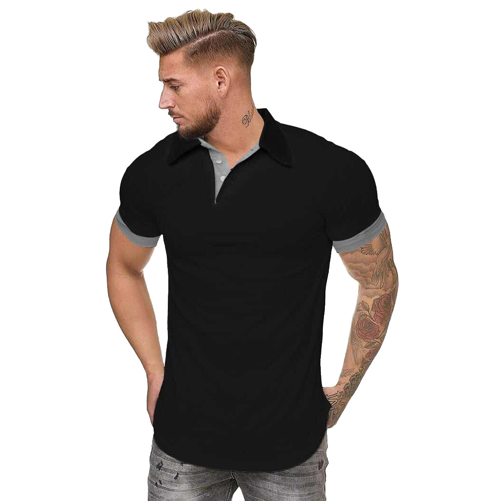 Feitong 2019 New Summer Black Cotton   Polo   Shirt Men Short Sleeve Casual Camisa   Polo   Solid Soft Feel Quality Mens   Polos