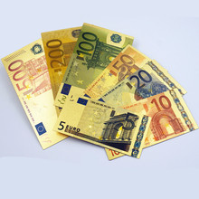7 шт. памятные ноты 24 к позолоченные долларов евро поддельные деньги, высококачественные подарки, коллекционное украшение, антикварный дом