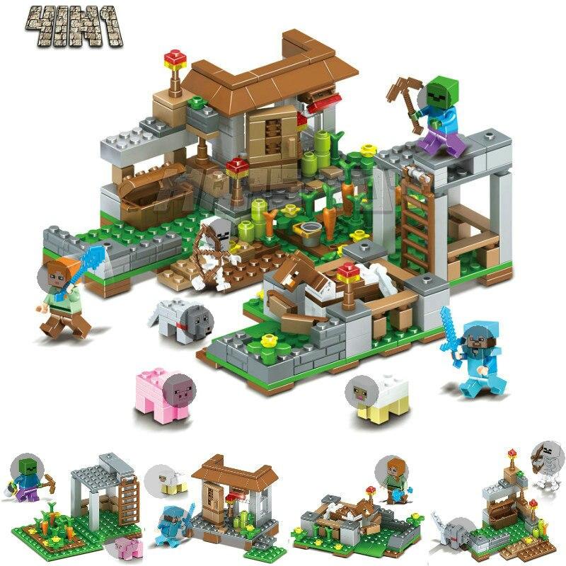 Unique Vente CHAUDE Minecrafted Chiffres Building Set Jardin Briques Compatible LegoINGlys Blocs Jouets pour Cadeaux Minecraft Blocs