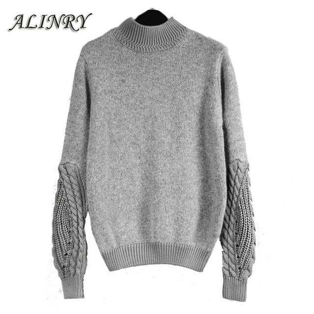 2017 Новое прибытие женщин свитер горячие серый цвет осень зима О-Образным Вырезом пуловер ретро твист рукав мягкий теплый повседневная мода свитер