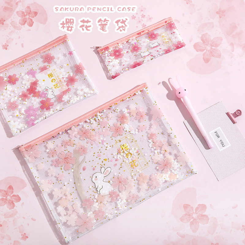 Rabbits Under Cherry Trees Sequins Transparent A4 A5 B6 File Folder Document Filing Bag Stationery Bag