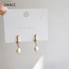 GWACC 2019 NEW Design Chic Minimalist Knotted Pearl Drop Earrings For Women Simple Delicate Fashion Jewelry Super Fairy