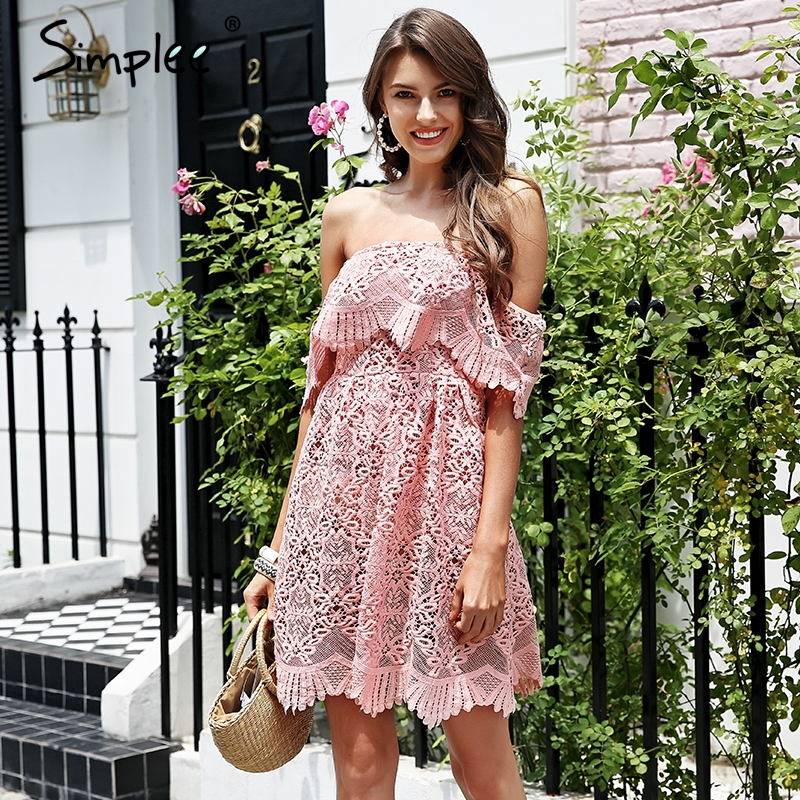 Simplee Off shoulder embroidery pink lace dress Women high waist overlay short dress 2018 Elegant casual party dress vestidos