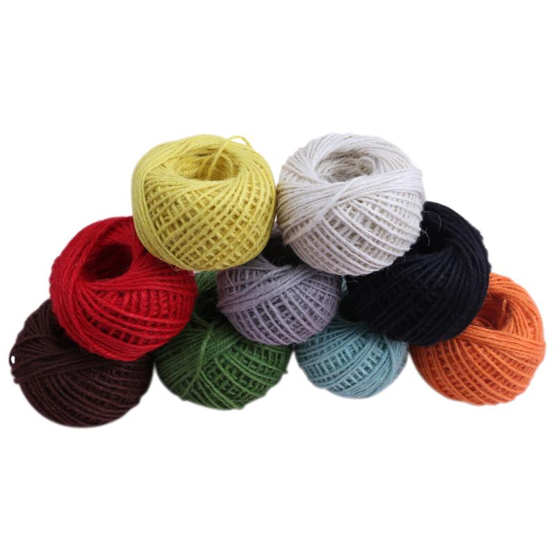 50m 2mm Jute Rope Twine Rustic String Cord Rope DIY String Crochet Yarn For Knitting Accessories Colorful Yarn Sewing Accessory 1