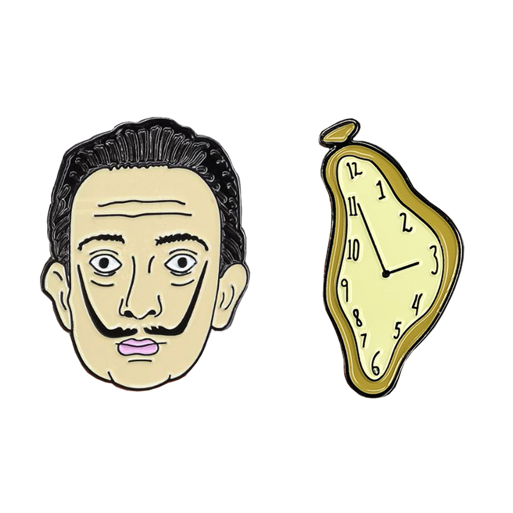 Salvador Dali And Melted Clock Enamel Pin Surreal Painter Brooch Men Art Badge Time Jewelry Cute Pin Artist Gift Women Accessory