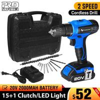 PROSTORMER 20V Electric Screwdriver Cordless Drill 30Pcs With Box Flexible Shaft Power Tool Lithium Battery LED Light Mini Drill