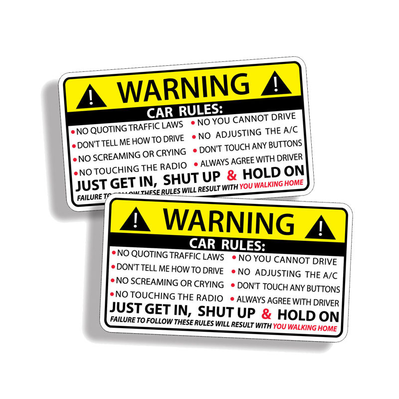 Image 2 - YJZT 2X 10,2 см * 5,7 см Предупреждение правила безопасности наклейка ПВХ автомобильный стикер 12 0585-in Наклейки на автомобиль from Автомобили и мотоциклы