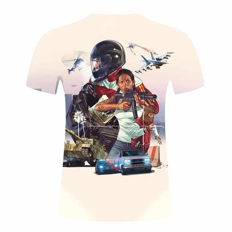 Grand Theft Auto игра GTA 5 мужские летние футболки Cool GTA5 Мужская футболка с красочным принтом Футболка для пар футболка забавная одежда