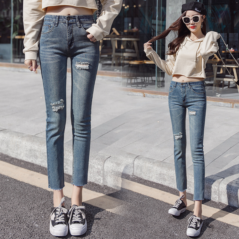 Pengpious Spring New High Waist Hole Jeans For Teen Girls Cropped Strechy Denim Pants Sand Blast Wrinkle Washed Women Jean Jeans Bottoms
