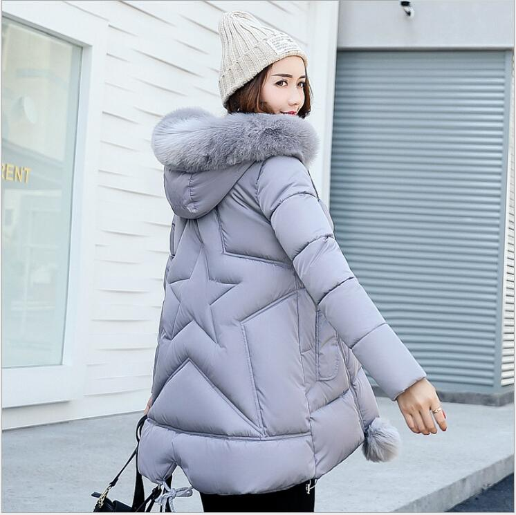 2017 winter new wave Korean women's Slim fashion cotton wool collar collar in the long large size down jacket women the wave