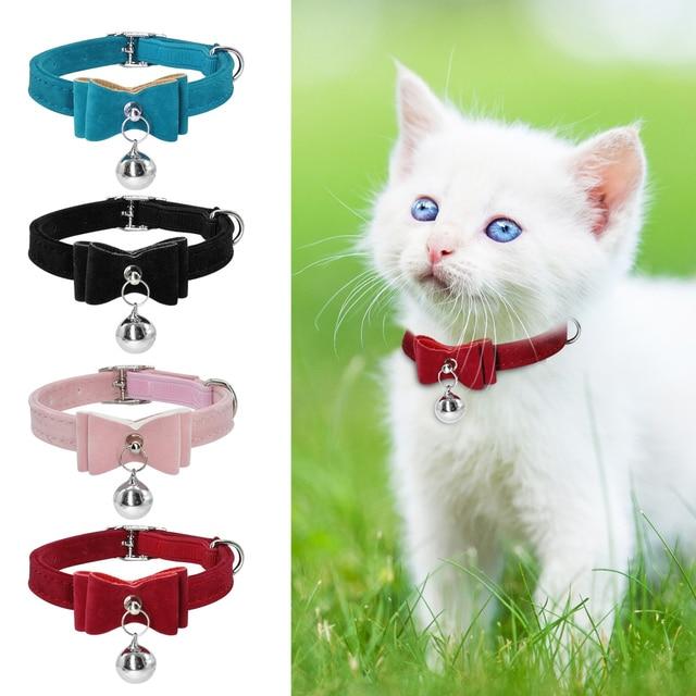 Carino Piccolo Cucciolo del Gatto Collari Velvet Bowknot del Gattino del Gatto D