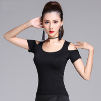 New Fashion Black Short Sleeve Cutout Sexy Latin Dance Clothes Top For Women Female Ballroom Costume