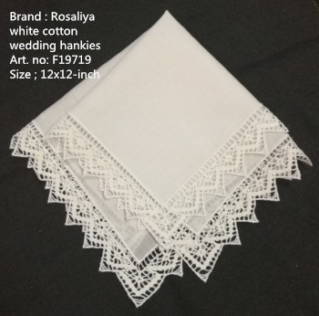 Set Of 12 Fashion White Cotton Wedding Bridal Handkerchiefs With Embroidered Crochet  Lace Edges Ladies Hankies Hanky 12x12-inch